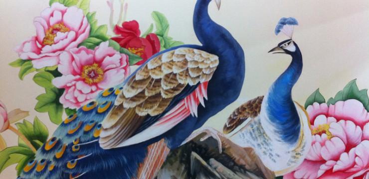 孔雀牡丹背景墙手绘