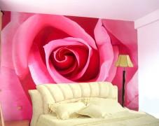深圳福田红荔村红玫瑰花床头背景墙