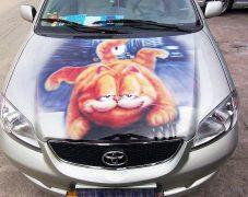 丰田汽车机盖——加菲猫