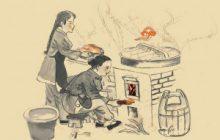 柴火鸡国画人物场景手绘墙–壁画—火锅店手绘—-餐厅手绘