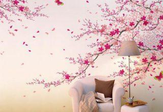 蝴蝶花卉手绘背景墙