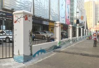 牛栏前村街道外墙柱子手绘