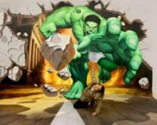 3D绿巨人手绘–壁画手绘–3D立体画