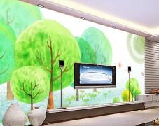 独创沙发背景墙手绘