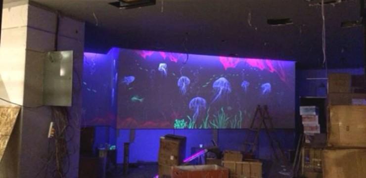 水母世界隐形壁画手绘
