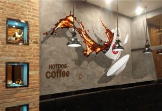 惬意咖啡馆3D手绘墙画