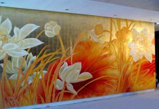 国画花鸟画手绘背景墙