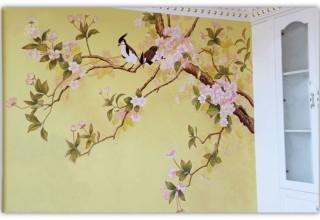 国画手绘背景墙