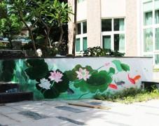 小区花园手绘