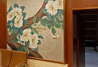 工笔花鸟手绘背景墙