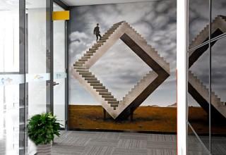 手绘时尚公司背景墙
