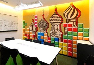 俄罗斯方块手绘公司背景墙