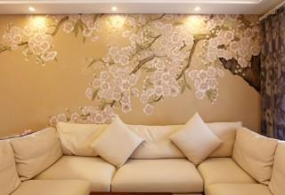 手绘工笔梨花 沙发背景墙