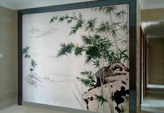 中国风背景墙手绘