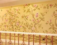 工笔花鸟手绘走廊