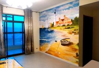 地中海风格背景墙手绘