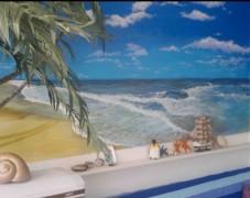 地中海海景风格背景墙手绘