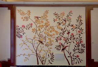 工笔花鸟电视背景墙手绘
