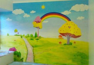 喜羊羊儿童房手绘