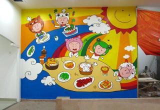 饭店背景墙手绘