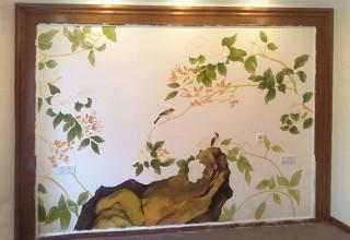 工笔花鸟卧室背景墙手绘