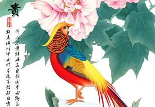 花开富贵玄关门手绘