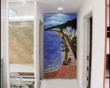 地中海风格走廊手绘