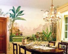 水彩背景墙手绘