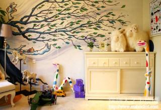 几米风格儿童房手绘