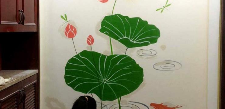 家居玄关荷花背景墙手绘