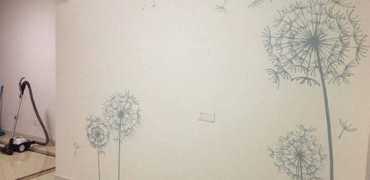 蒲公英电视背景墙手绘