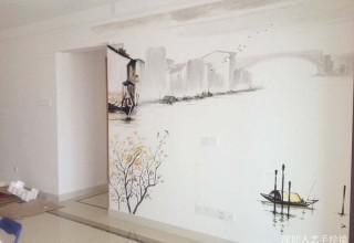 水墨画背景墙手绘