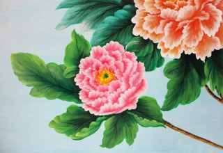 花开富贵电视背景墙手绘