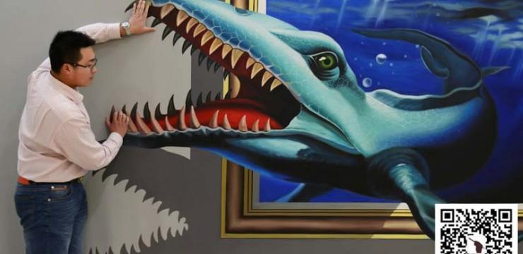 手绘3d鲨鱼画