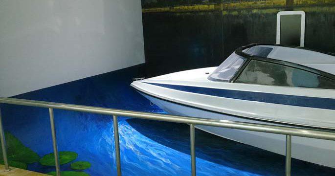 温州游艇展览馆手绘