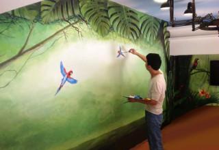 宠物店–热带森林手绘