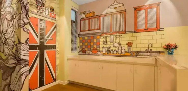 厨房样板房手绘
