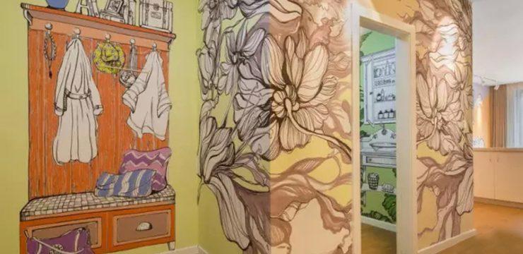 样板房过道手绘