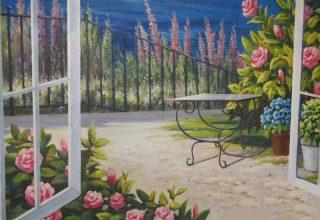 样板房阳台手绘