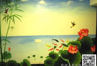 电视背景墙手绘—荷塘月色