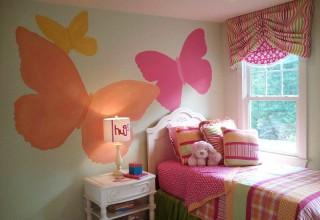 儿童房手绘–彩色蝴蝶