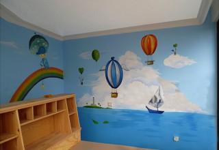 儿童房手绘–碧海蓝天