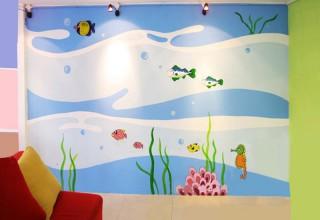 儿童房手绘–蓝色世界