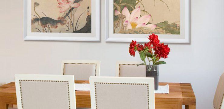 荷花和蜻蜓原版–餐厅装饰画