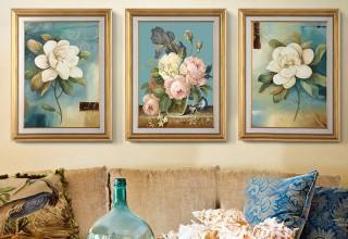 美式客厅装饰画–富贵花