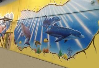 海洋餐厅手绘墙