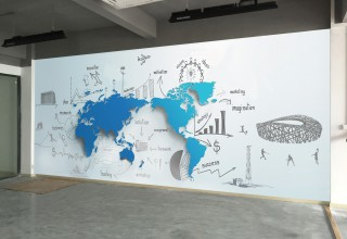 办公室前台壁画手绘