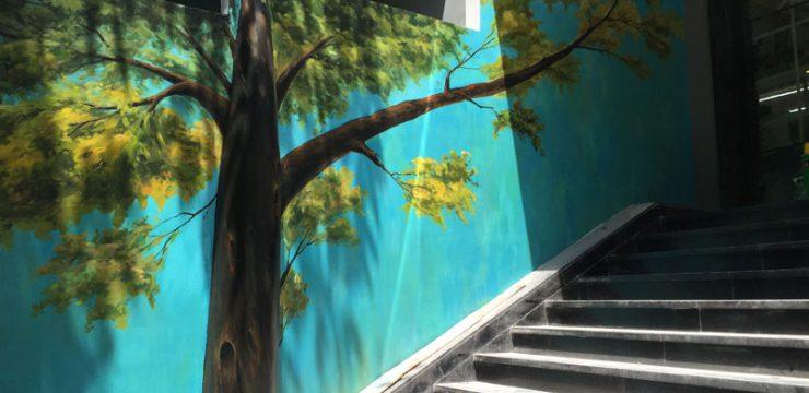 外墙大树手绘