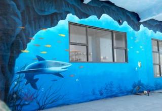 蒸气鱼餐厅壁画手绘