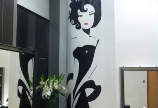 理发店壁画手绘